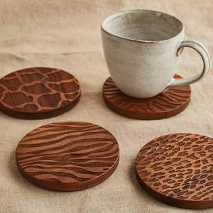 Wooden Animal Print Coaster Set Create Gift Love