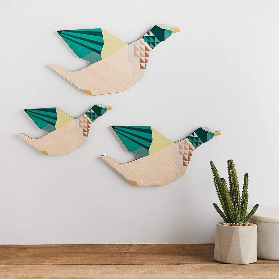 Wooden Geometric Wall Ducks Set Create Gift Love