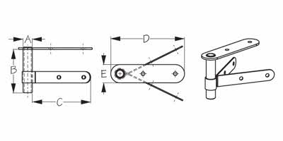 Pointed Stern Rudder Gudgeon - Schematic