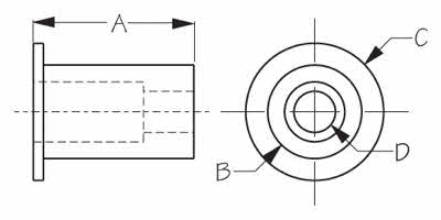 #10-32 Well Nut Threaded Insert - Schematic