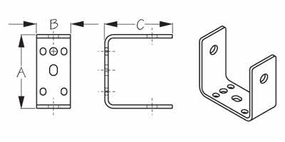 Stainless Steel Universal Rudder Gudgeon - Schematic