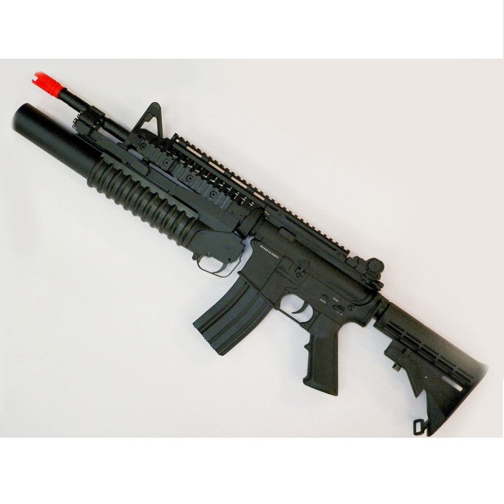 A.T. CUSTOM D-BOY M4 W/GRENADE LAUNCHER - This D-BOY M4 S-system is one very powerful long shooting rifle with the fps around the 400 mark, this gun will shoot up to 200 feet.