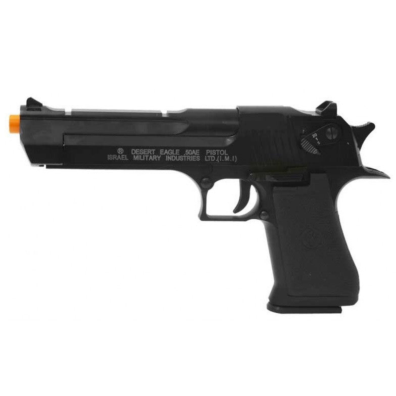 CO2 Blow Back Desert Eagle Semi/Full Auto - Fire mode/s: Semi/Full Auto  Velocity: 305-320 fps w/ .2g  Effective range: 120 feet  Rate of fire: 650 RPM  Hop Up: Adjustable  Weight: 2.5 lbs  Magazine capacity: 21 rds  Locking slide: Yes  Open ejection port: Yes  Gas type: 12 gram CO2 Cartridge