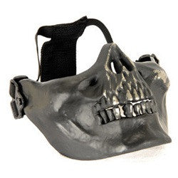 UKARMS AC-104S Tactical Skull Skeleton Half Mask for Airsoft in Black and Silver