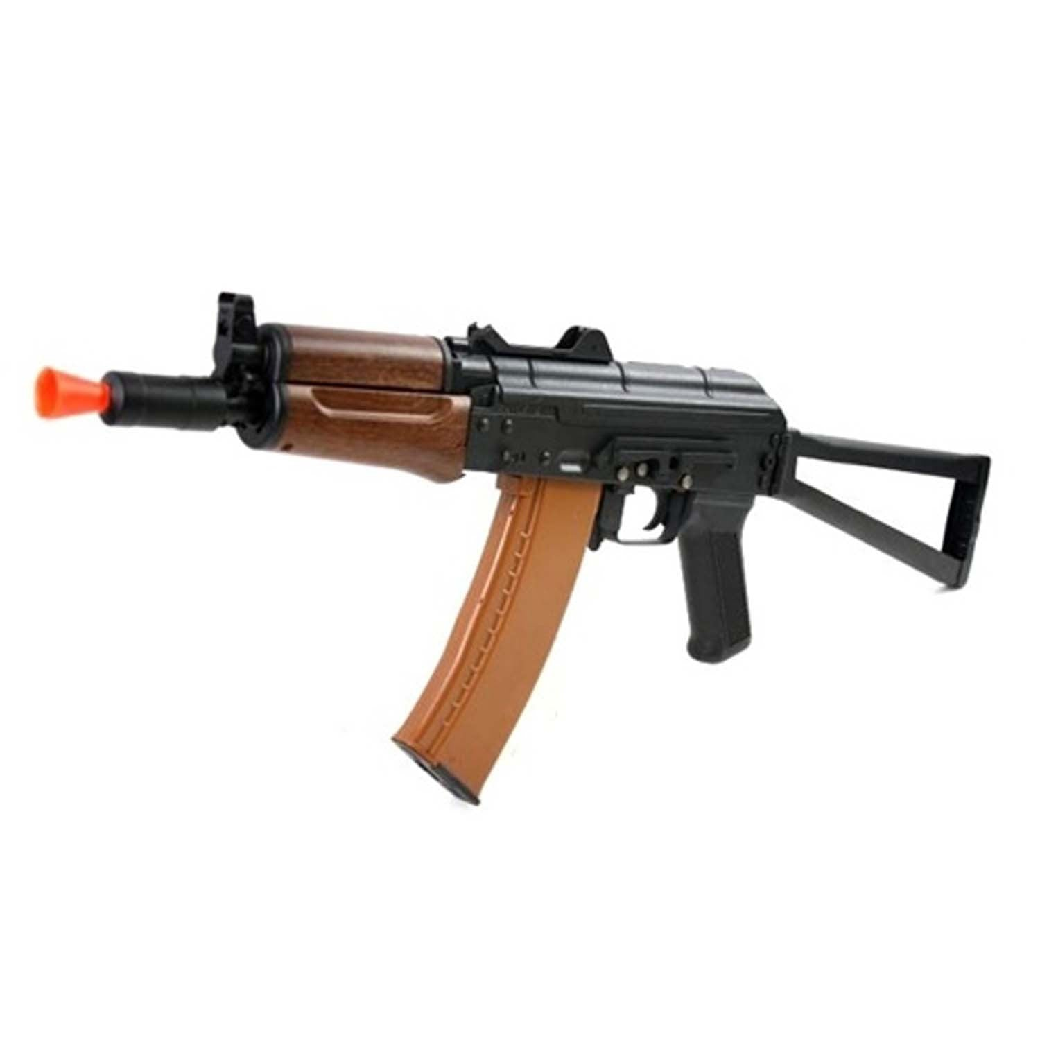 DBoys/Kalash AK-74UN Full Metal AEG Rifle - FPS: 370-390 RPS: 13-14 Metal Reciever Metal Side-folding Stock Ver. III Metal Gearbox Metal Barrel Assembly Battery & Charger included Real Wood Handgaurds Effective Range: 170-180 ft. 600 Rd. High Cap Polymer Mag