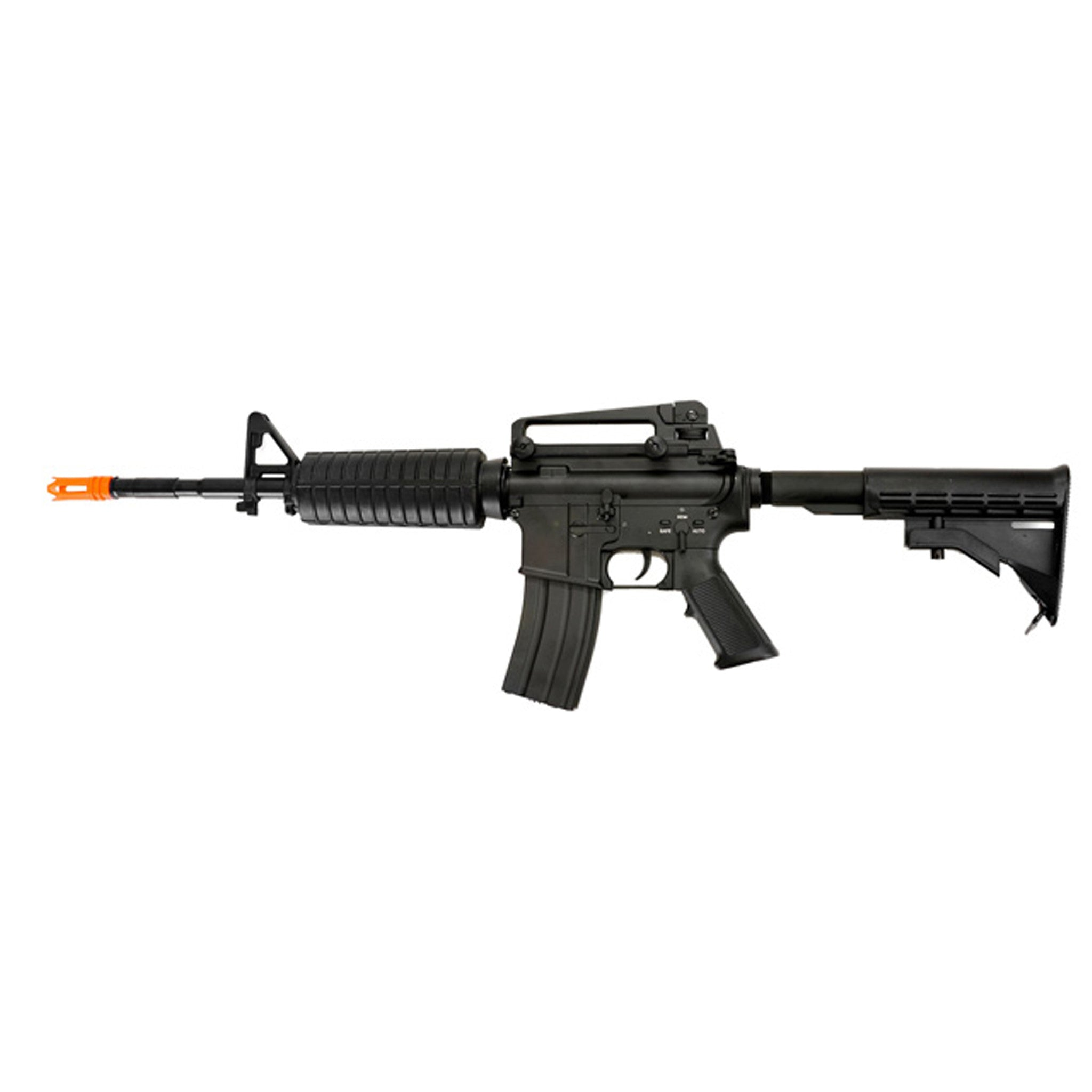 DBoys M4-A1 Full Metal - -Electric Automatic -Firing Modes: Semi-automatic and Full-automatic -Muzzle Velocity: 380-400 FPS -Magazine: 300-round high capacity (gear wind-up) -Gearbox: Full metal -Barrel: Full metal -Hop-up: Adjustable -Receiver: Full metal