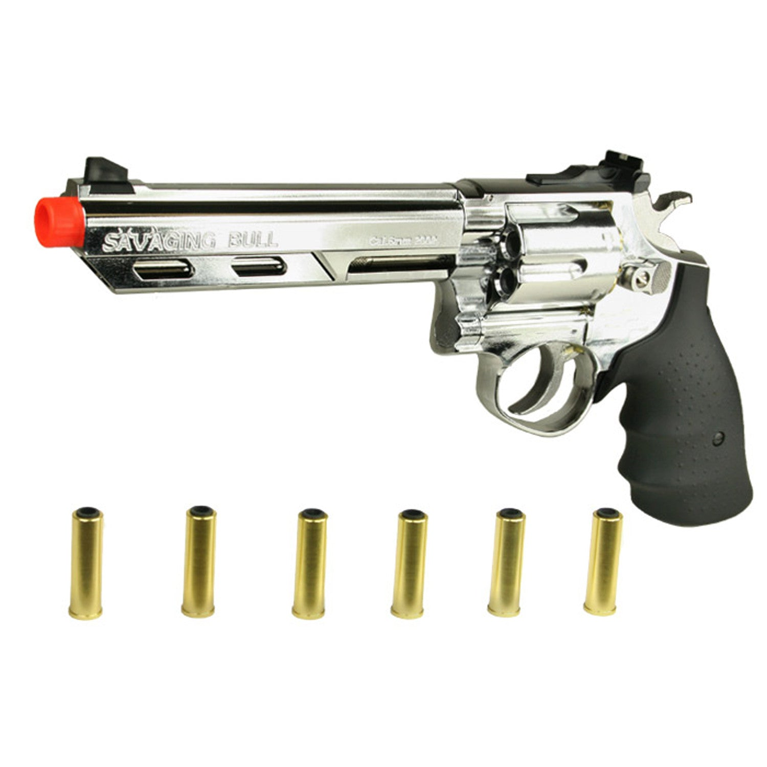 "HFC 6 "" SAVAGING BULL REVOLVER - •Muzzle Velocity: 280FPS •Revolver Capacity: 6, 1 BB for shell •Gas Type: Green Gas"