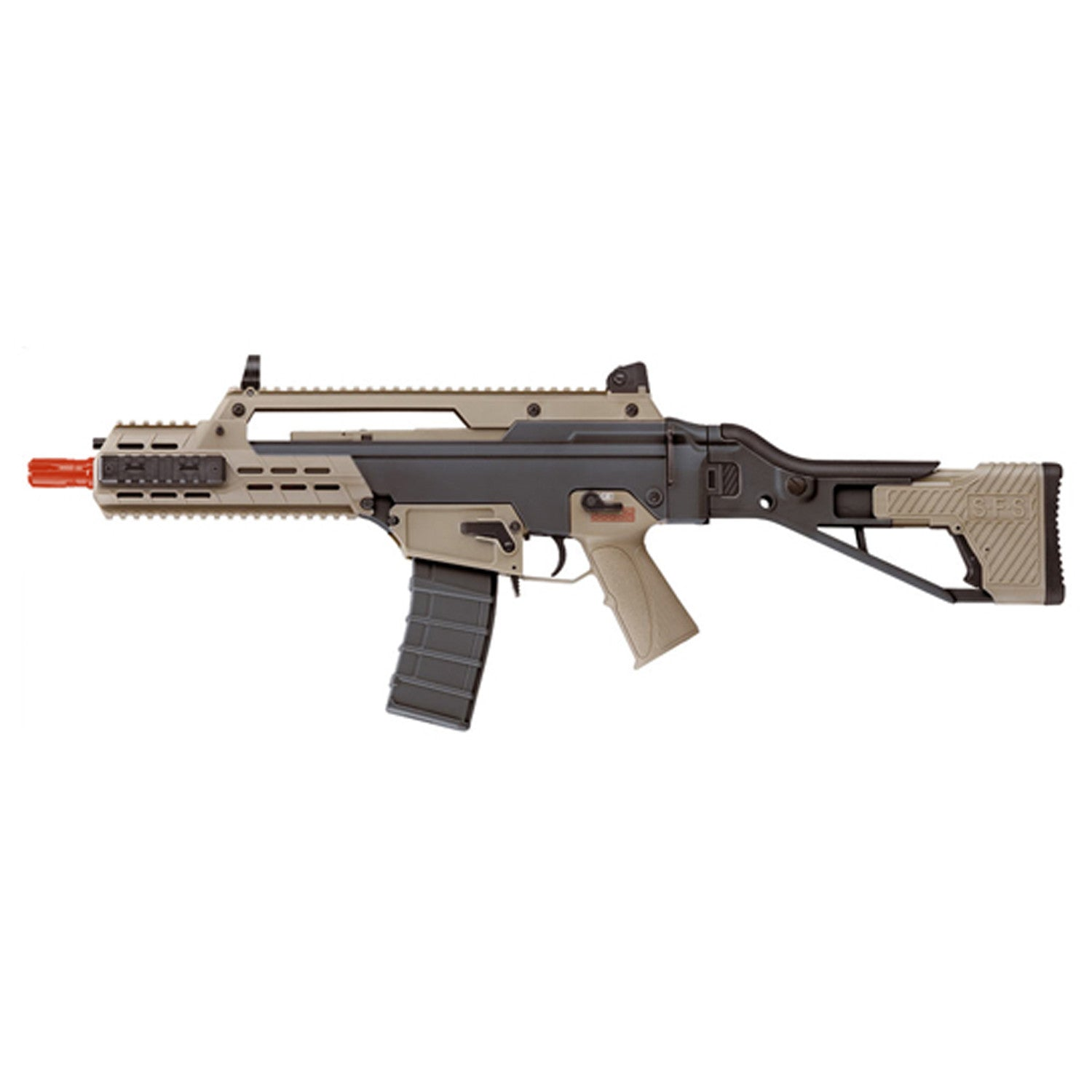 ICS G33 Compact Assault Rifle Two Tone (Black and Tan) - -- Semi & Fully Automatic Shooting mode -- Metal & Standard Industrial Plastic Construction -- 370rds Hi-Cap C7 Magazine accommodate -- Full metal front & adjustable rear sight -- Nylon Fiber Side Folding SFS Stock (4 Position Extended Length / 3 Position Cheek Height ) -- 210mm G36 Tactical Handguard (Picatinny rail on Top and Bottom) With 2X 95mm Side Rail On Both -- Ergonomics texture Pistol Grip