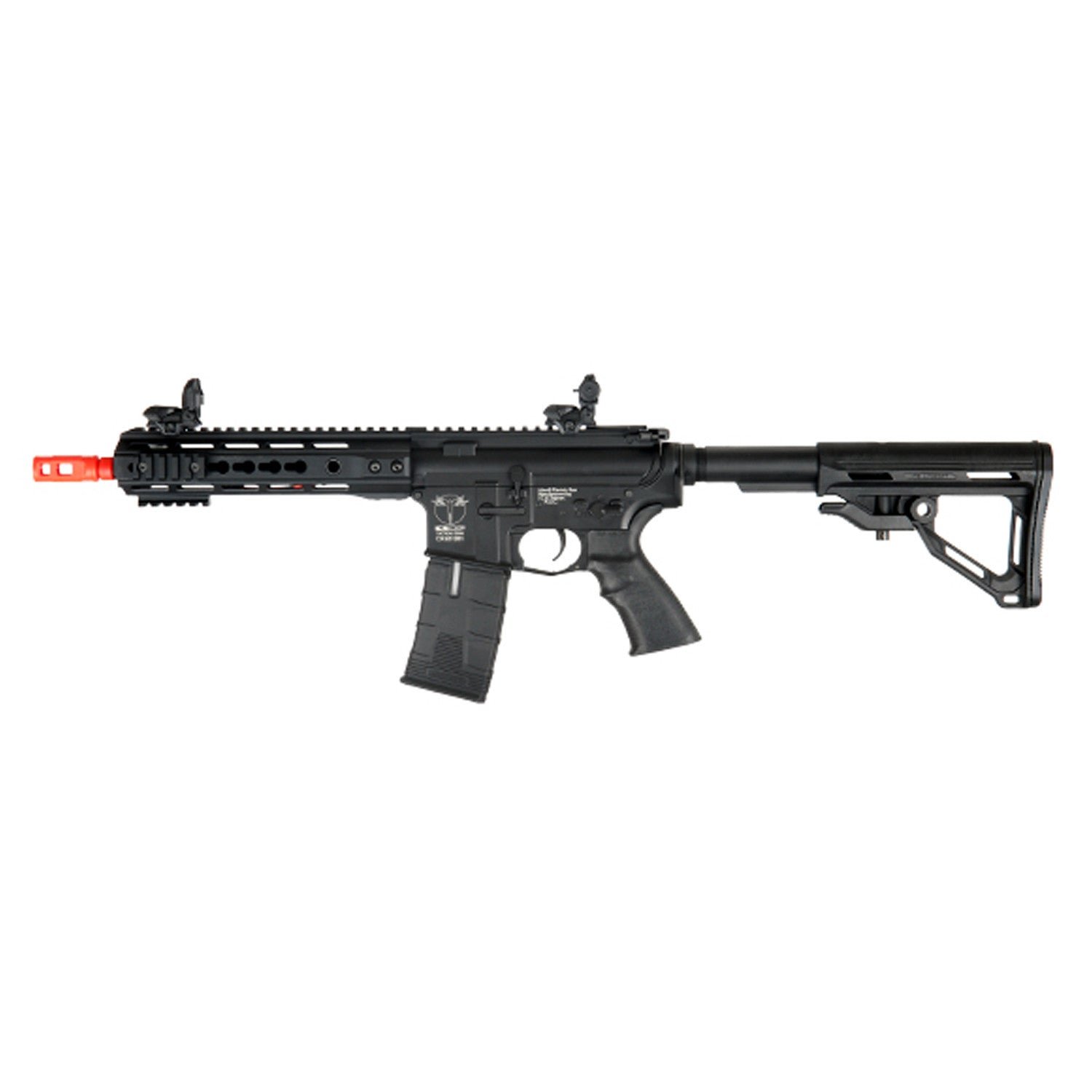 ICS M4 Key Mod Full Metal AEG, Short Version - 400 FPS, Metal body & split gear box, Front & rear folding sight, Blowback action