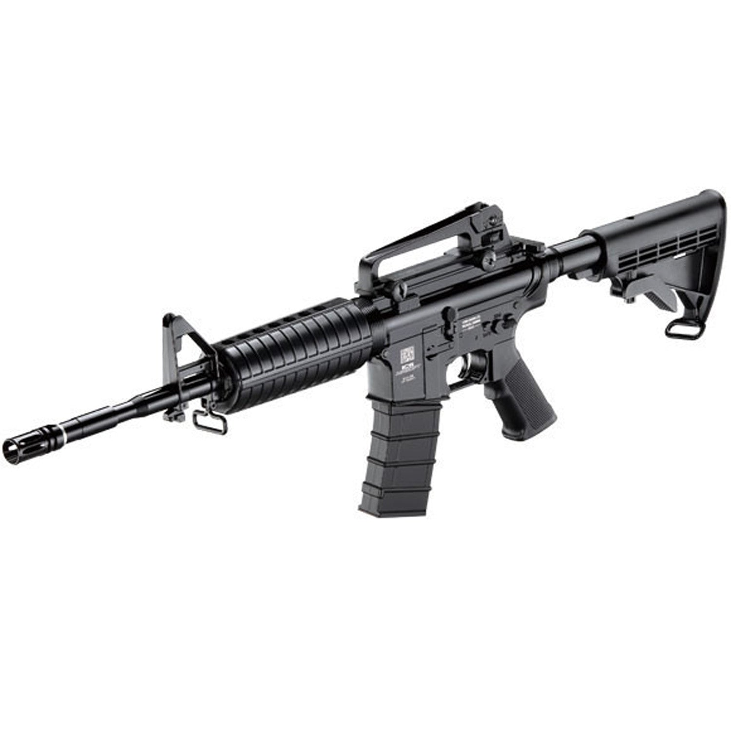ICS M4 Full Metal - 305 fps (0.12 g BB) / Range 90-100 feet - Barrel Length: 15.5 inches / 39 cm - Magazine Capacity: 20 Rounds Features: - Round handguards - Hop Up - Carry Handle