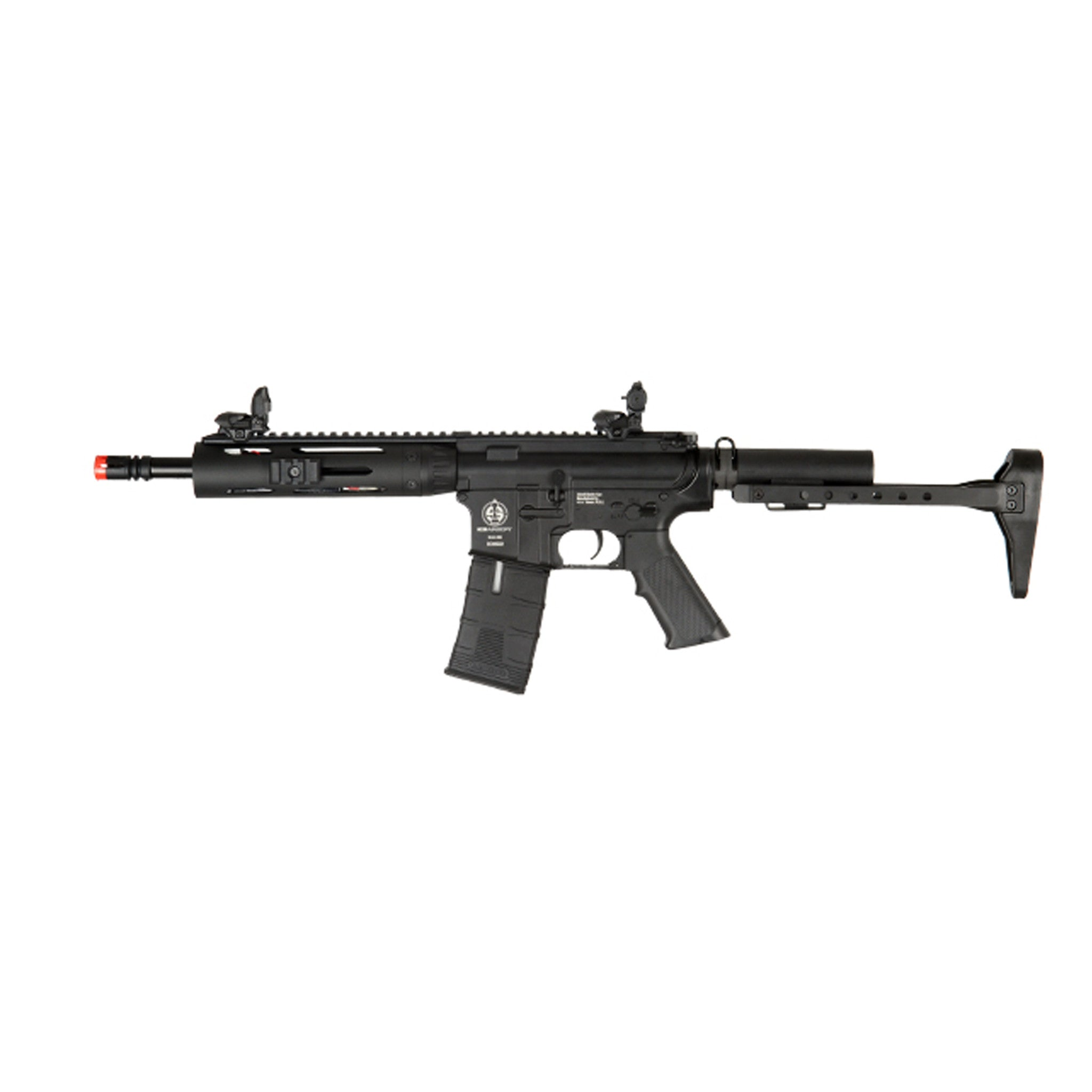 ICS CXP Tubular M4 - -Electric Automatic -Firing Modes: Semi-automatic and Full-automatic -Muzzle Velocity: 390-420 FPS -Magazine: 300-round high capacity (gear wind-up) -Gearbox: Full metal -Barrel: Full metal -Hop-up: Adjustable -Receiver: Full Metal