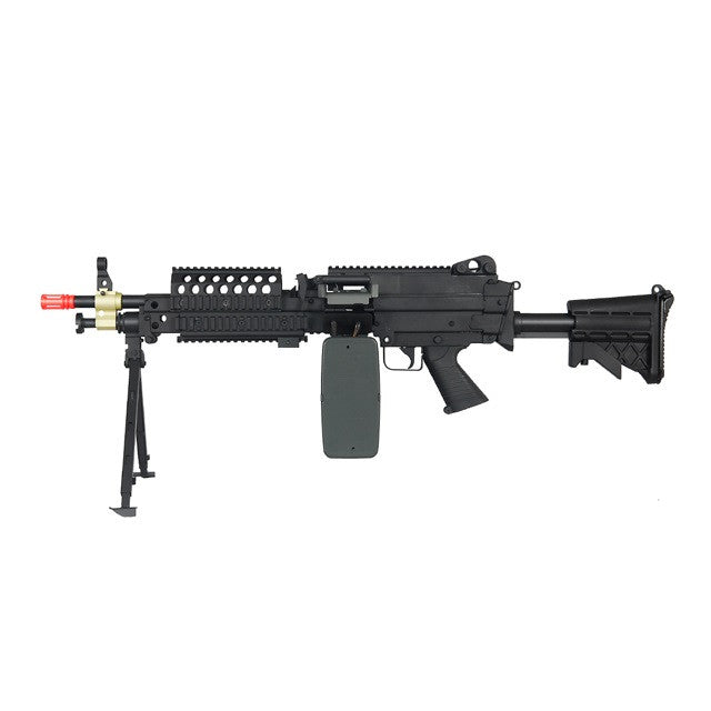 A&K M249 MK46 SPW - FULL METAL, INTEGRATED BIPOD RAIL ON UPPER RECEIVER ALLOWS FITMENT OF OPTICS RETRACTABLE STOCK TRI-RAIL ON TOP & BOTTOM FOR FITMENT OF ACCESSORIES ADJUSTABLE REAR SIGHT