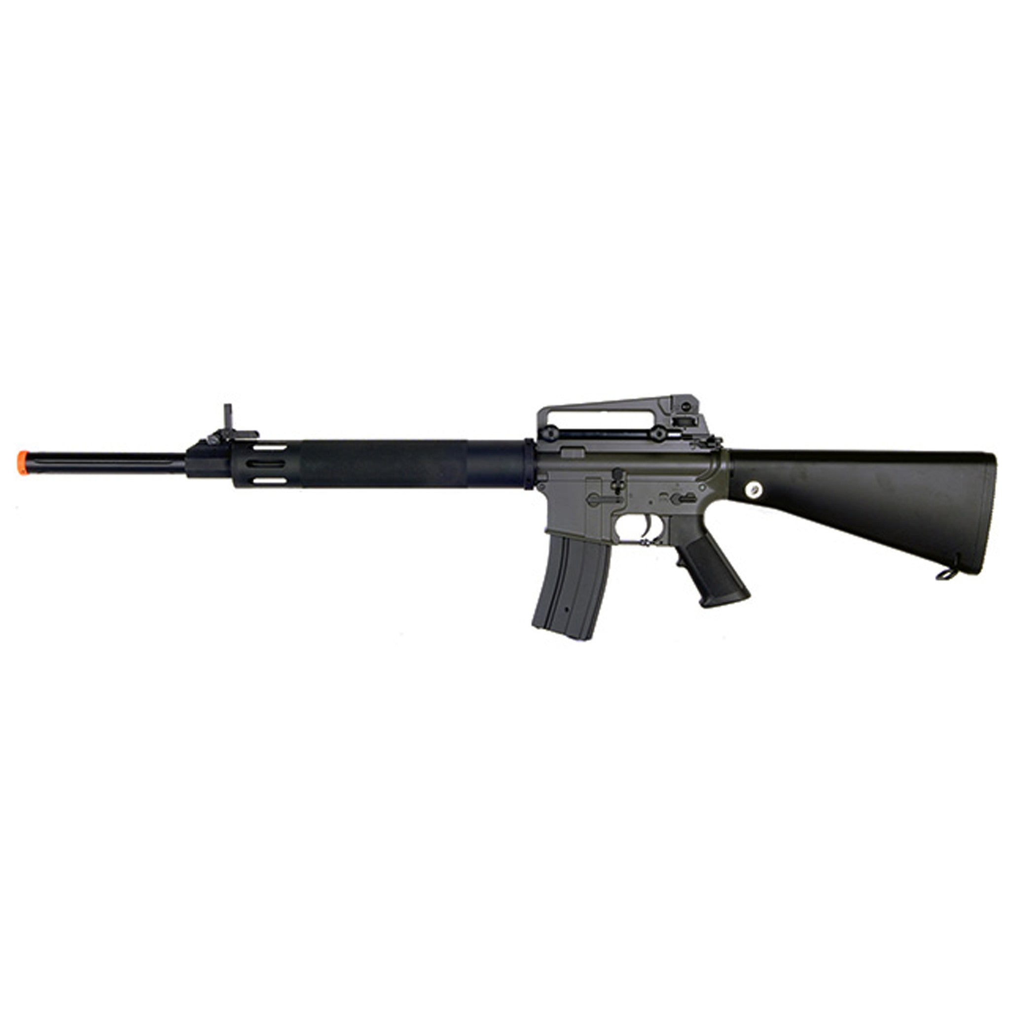 JG M16 UFC - -Electric Automatic -Firing Modes: Semi-automatic and Full-automatic -Muzzle Velocity: 390-410 FPS -Magazine: 300-round high capacity (gear wind-up) -Gearbox: Full metal -Barrel: Full metal -Hop-up: Adjustable