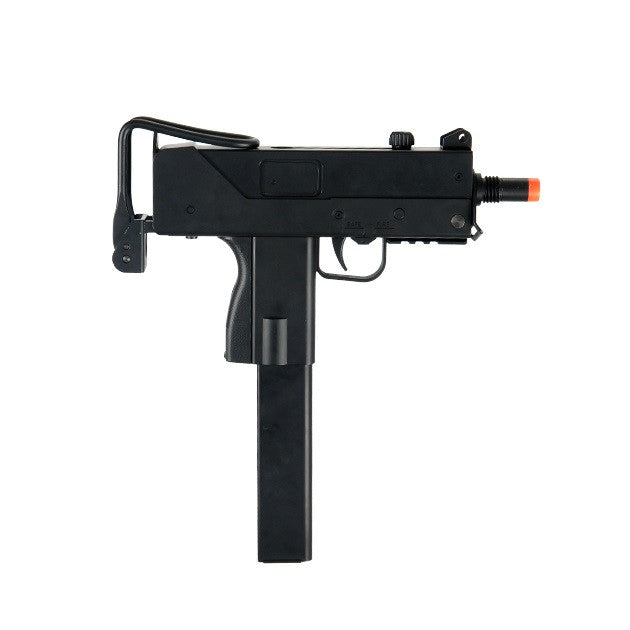 MAC11 AEG     Metal Gearbox     Semi & Full Auto     Battery & Charger included     Mock silencer included     Retractable stock     Adjustable hop-up     FPS 300-330     100-120 ft. distance accuracy