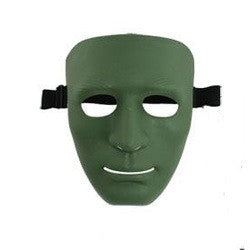 Full Face Plastic Plain Mask Green/black for Airsoft