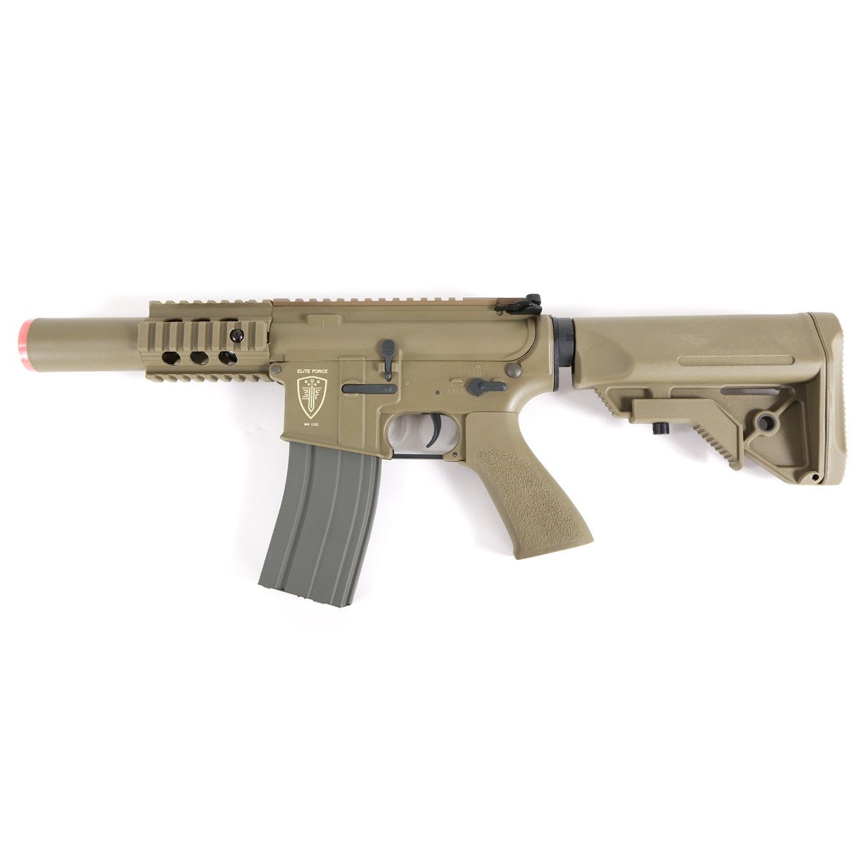 EF M4 CQC -  330 FPS w/.2g BB Fully upgradable High strength Nylon fiber receiver Metal quadrail, barrel, mock suppressor Metal Gears/ Metal Gearbox Adjustable Hop-up Crane Stock Hi-Cap Mag 300rds