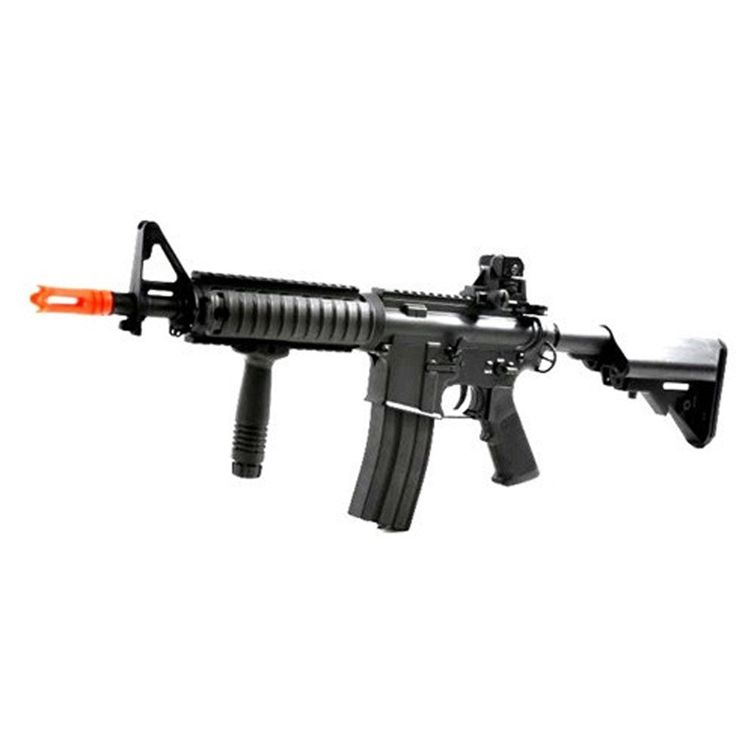 Airsoft DBoys Full Metal M4 CQB-R AEG Rifle w/ Reinforced High-Performance Metal Gearbox - Operation: Electric Automatic Body: Full Metal Receiver, Stock Bar, Barrel, Pistol Grip Firing Modes: Semi-automatic and Full-automatic Muzzle Velocity: 350-400 FPS Magazine: 300-round high capacity (gear wind-up) Gearbox: Full metal