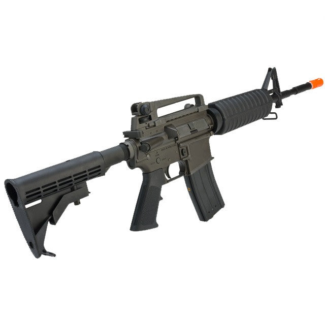 King Arms Full Metal Fully Licensed Colt M4A1 Carbine Airsoft Gas Blowback Rifle - Magazine Capacity: 50 Rounds Firing Mode: Semi Automatic, Full Automatic and Safety Hop-up: Adjustable Overall Length: 770mm (850 with stock extended) Inner Barrel Length: 368mm. The King Arms M4 GBB uses AEG type tight bore inner barrels. Gas: Green gas, propane adapter, co2 magazine. System: Open bolt Action: Gas blowback Caliber: 6mm / High grade bbs recommended. Muzzle Velocity: 330~380 FPS