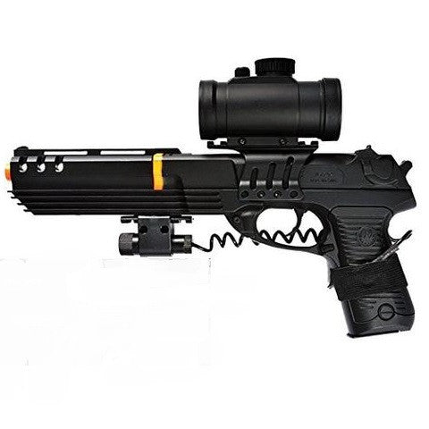 "Double Eagle Full Size Robocop Airsoft Spring Pistol w/ Red Dot Scope and Laser -       Muzzle Velocity: 220 - 250 FPS (Measured with 0.12g BBs)     Length: 12"" overall length with removable extension     Power: Spring Powered, Single Shot     Magazine Capacity: 14 rds     Material: ABS Polymer     Manufacturer: DE     COMES WITH ACCESSORIES (SCOPE AND LASER)     REMOVABLE FRONT TO MAKE INTO SHORT PISTOL"