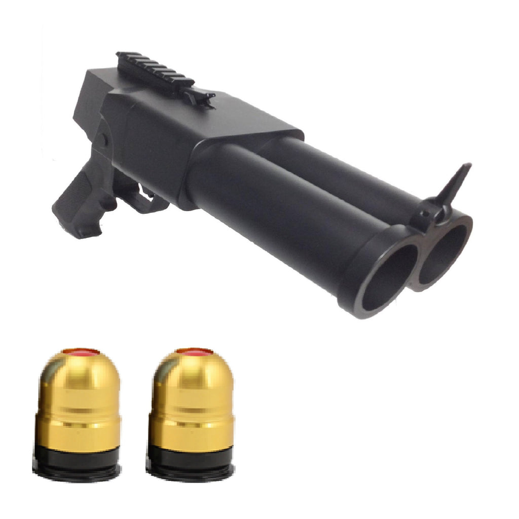 Double Barrel Pistol Grenade Launcher w/ TWO Grenade Shells!