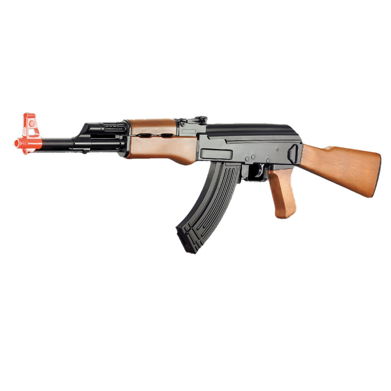 Cyma Plastic Gearbox AK47 - Full, semi, and safe capable.  -Exact replica.  -Electric gearbox that can do 220 fps (.12g) without any upgrades.  -Simulated wood finish.