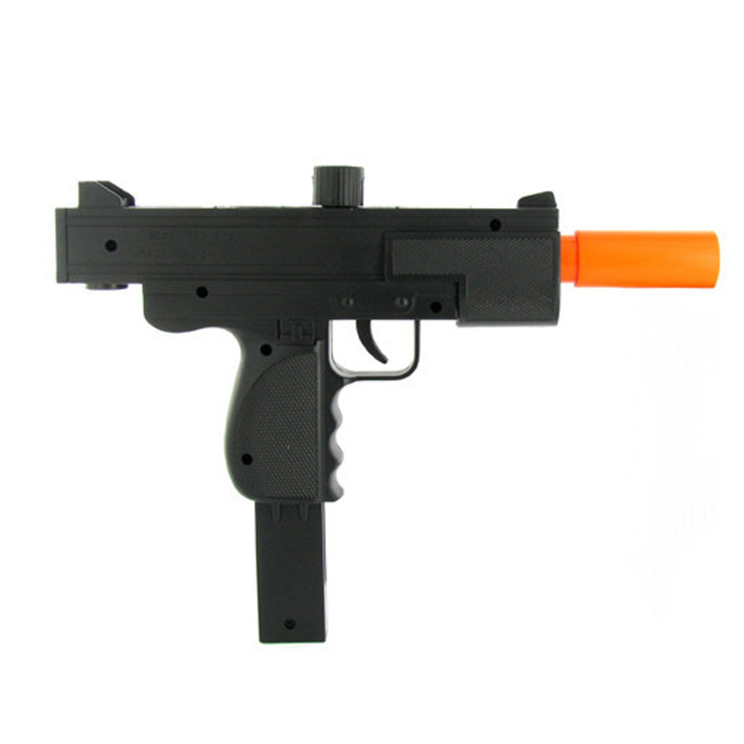 •Plastic Construction •Spring Powered •Black Finish  Includes:  •Double Eagle Spring Uzi •Sample Pack BBs  Specifications:  •FPS: 150 •Magazine Capacity: 20 •Size: 11""