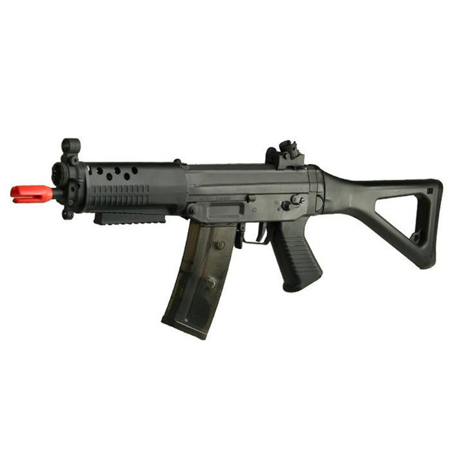 JG SIG 552 AEG Airsoft Gun       FPS 330-350     12-13 RPS     8.4 V. Rechargeable Battery & Wall Charger Included     300 Rd. High Cap. Magazine Included     Version III Gearbox     Ambidextrous Selector     Side Folding Stock     Wired to the Front     Manufacturer: Jing Gong