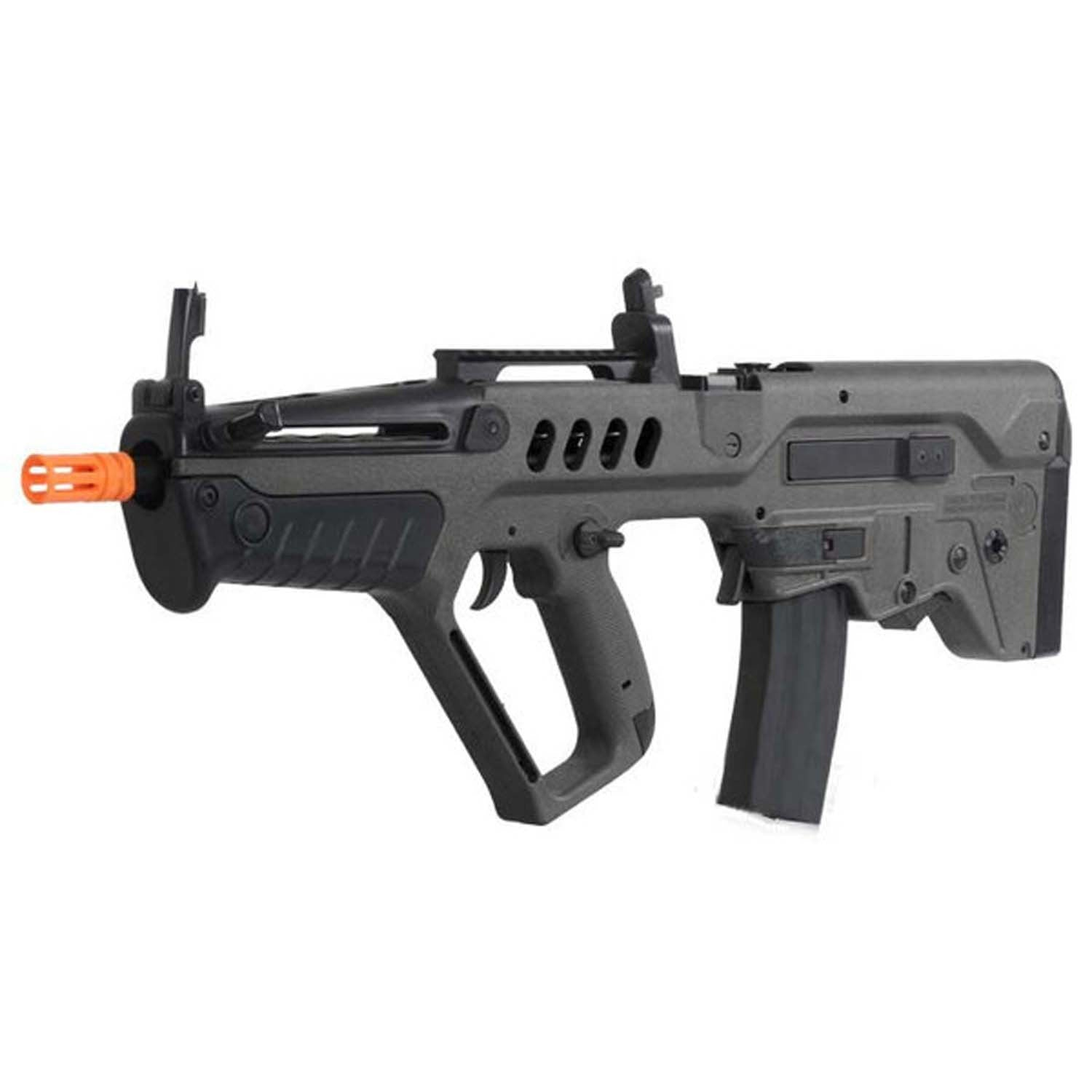 Full Metal Gearbox Tavor TAR-21 AEG Advanced Tactical Rifle - Polymer Exterior Metal Barrel Assembly 330-350 FPS 12-13 RPS 8.4 V. Rechargeable Battery & Wall Charger Included 380 Rd. High Cap Magazine Included Metal Internal Gearbox Quick Spring Change Ability Battery Located in the Front Hand Guard Flip Up Front & Rear Sight Top Rail for Optics Ambidextrous Mag Release