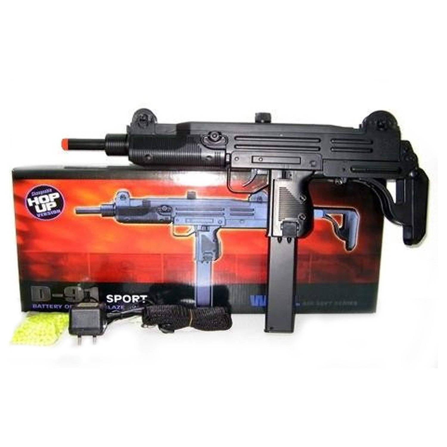 "D91 Airsoft Full Size Uzi Style -      Full Auto Electric Rifle     Full Size Uzi Style     Fully automatic electric 1:1 scale     Uzi style airsoft rifle.     Measures 25"" in length     Shoots approximately 350 rounds per minute at about 220 fps."
