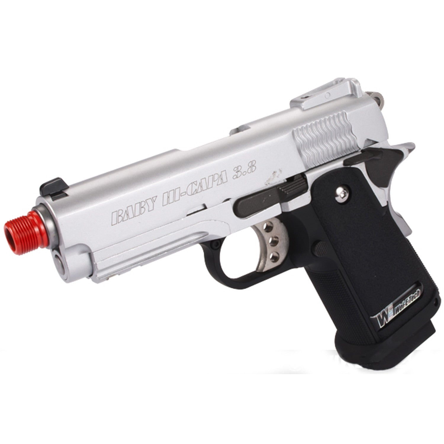 WE 1911 Baby Hi-Capa 3.8 Silver - Gas Blowback Full Metal 24 Round Mag Muzzle Velocity 330FPS Manufactured by WE