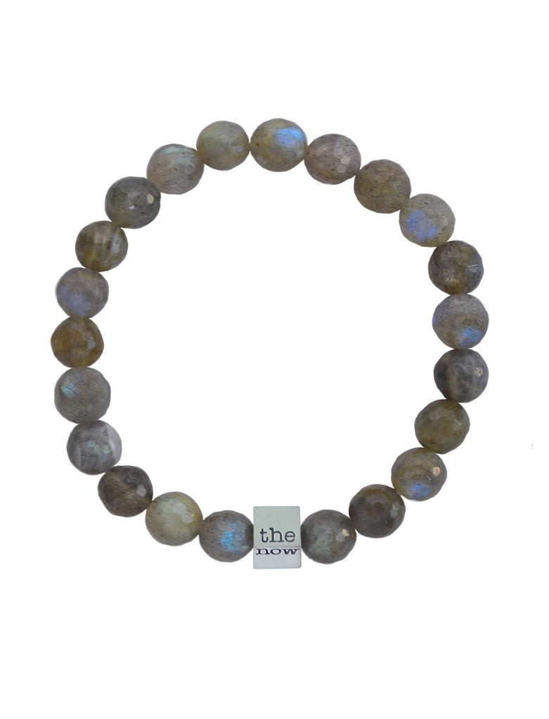 the now aurora meta bracelet - 8mm faceted labradorite bead bracelet with 'the now' embossed 18K gold dipped, solid sterling silver cube charm