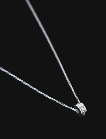 the now big wheel necklace - sterling silver the now cylinder pendant, hand-dipped in 18 karat gold. your reminder to keep right on rolling.