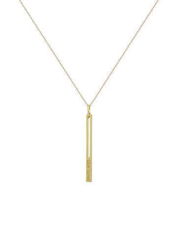 the now studios - raise the bar pendant necklace. a prominent 14K gold bar embossed with the now logo serves as a playful reminder to always raise the bar.