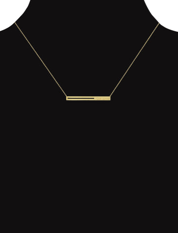 the now studios - raise the bar pendant necklace. a horizontal 14K gold bar embossed with the now logo serves as a playful reminder to always raise the bar.