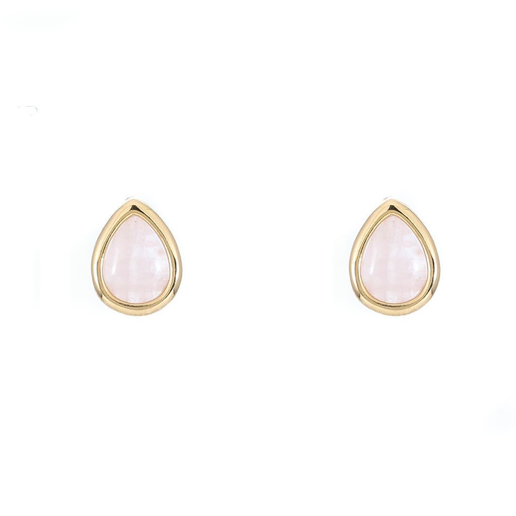 Rose Quartz Tear Drop Studs