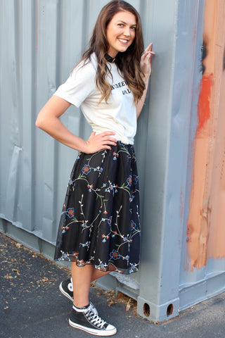 Black Embroidered Tulle Skirt