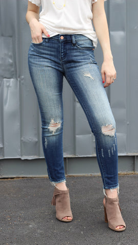 *Modest Distressed Jeans - Medium Wash