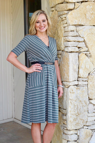 *Olive Striped Dress