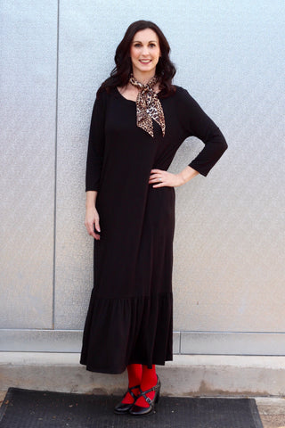 *Black Ruffle Hem Maxi Dress