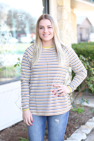 *Mustard Striped Top
