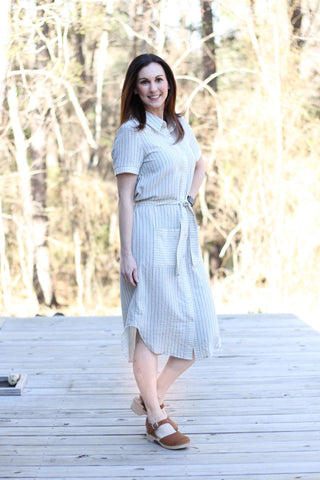 *Classic Striped Shirt Dress