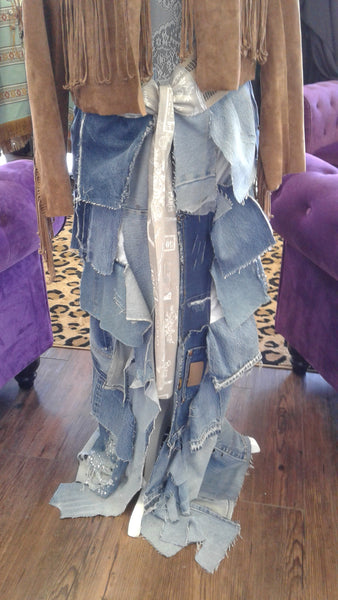 Layered Denim Wrap Skirt