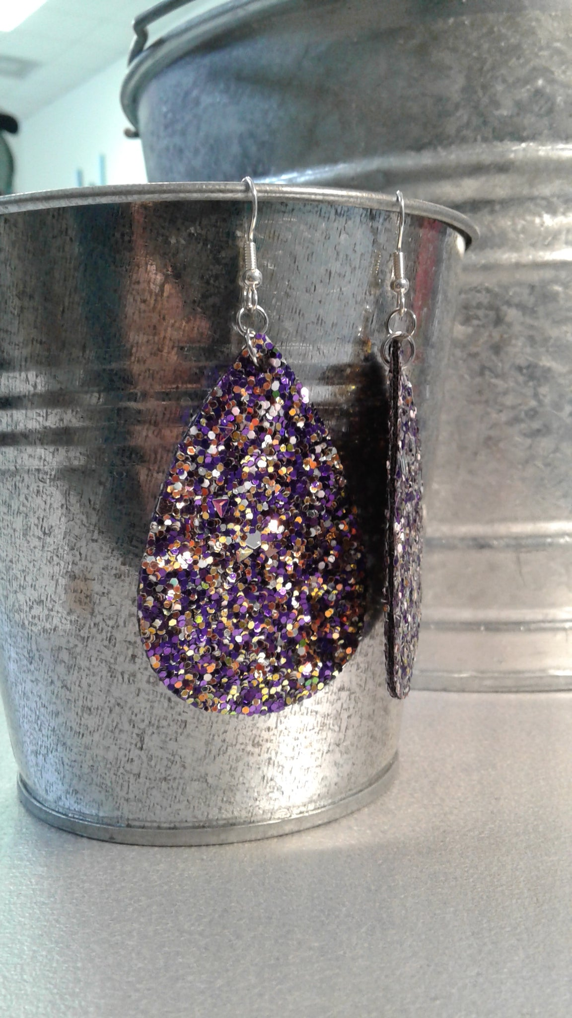 Purple and Orange Glitter Earrings