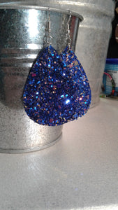Royal Blue and Orange Glitter Earrings