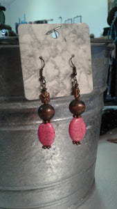 Pink Stone and Bronze Earrings