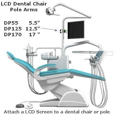 "Monitor Pole Arm for dental Chairs; 17"" long adjustable clamp on in seconds"