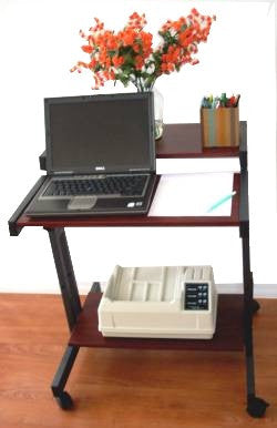 S3915 compact computer desk with adjustable height keyboard tray and bottom shelf