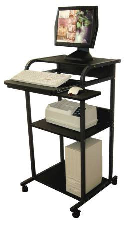 "S2445W 24"" Mobile Stand Up Computer Desk with Keyboard Tray & Mouse Tray"