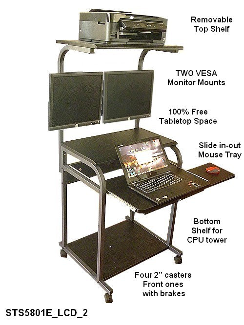 "24"" Compact computer desk with dual lcd monitor mount included"