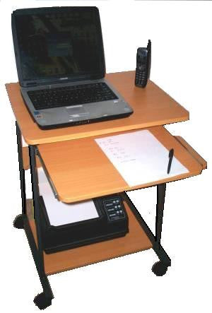 "24"" compact mobile laptop desk with keyboard tray & mouse tray"